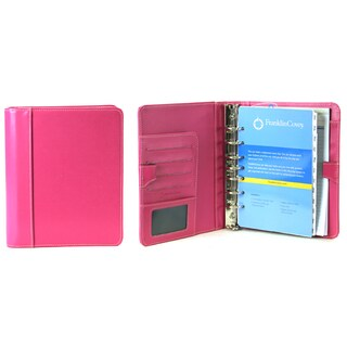 Raspberry Franklin Covey Leather Classic Open Style 7-Ring Binder
