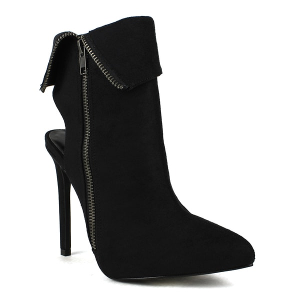 Fahrenheit Women's Keren-02 Suede Pointed-toe Zip-up Stiletto Booties