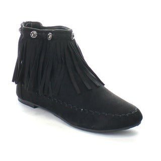 BOLARO BC5040 Women's Fringe Layer Back Zipper Flat Ankle Booties