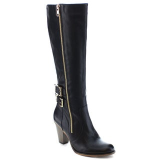 Beston FA01 Women's Dual Zip Stacked Chunky Heel Knee High Riding Boots