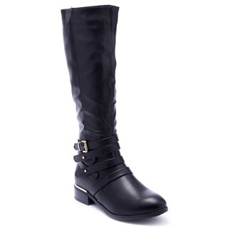 Beston FA02 Women's Strappy Buckle Side Zip Knee High Riding Boots