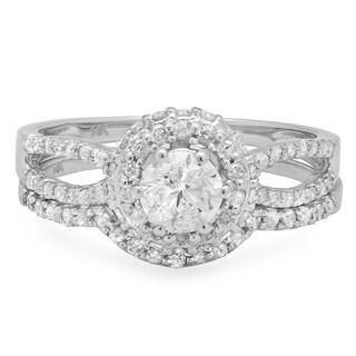 14k White Gold 1ct TDW Round Diamond Split Shank Halo-style Bridal Ring Set (J-K, I1-I2)