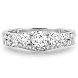 14k White Gold 1ct TDW Round-cut Diamond 5-stone Bridal Ring Set (J-K,I1-I2)