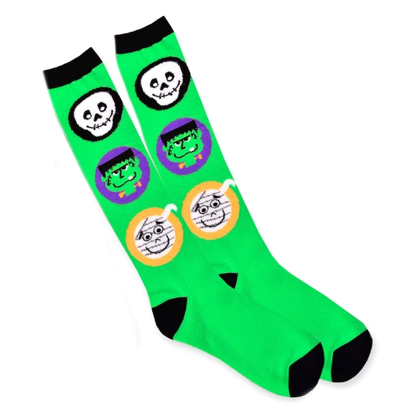 Women's Bright Green Halloween Monster Face Crew Socks