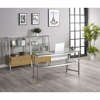 Tenzo 62-inch Glass Writing Desk with 2 Bookcases