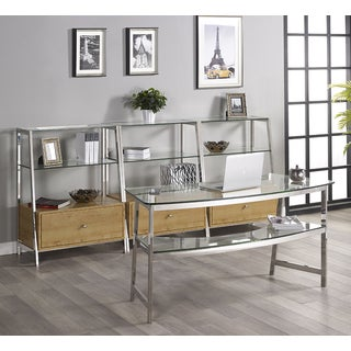 Tenzo 62-inch Glass Writing Desk with 3 Bookcases