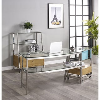 Tenzo 62-inch Glass Writing Desk with 1 Bookcase and File