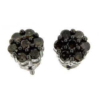 10k White Gold 5/8ct TDW Round Champagne Diamond Composite Stud Earrings