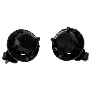 10k Black Gold 3 3/5ct TDW Round Black Diamond Stud Earrings