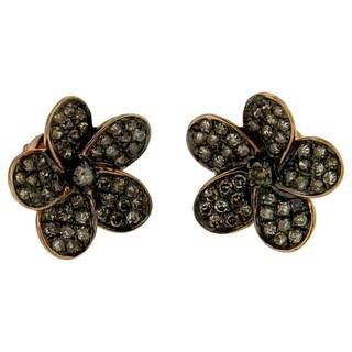 10k Gold 1/2ct TDW Champagne Diamond Flower Stud Earrings