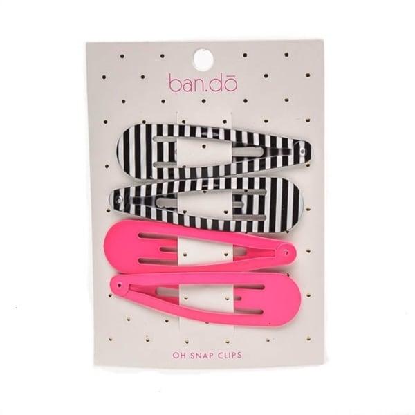 Ban.do Oh Snap Triangle Clip Set Black/White Stripe & Neon Pink