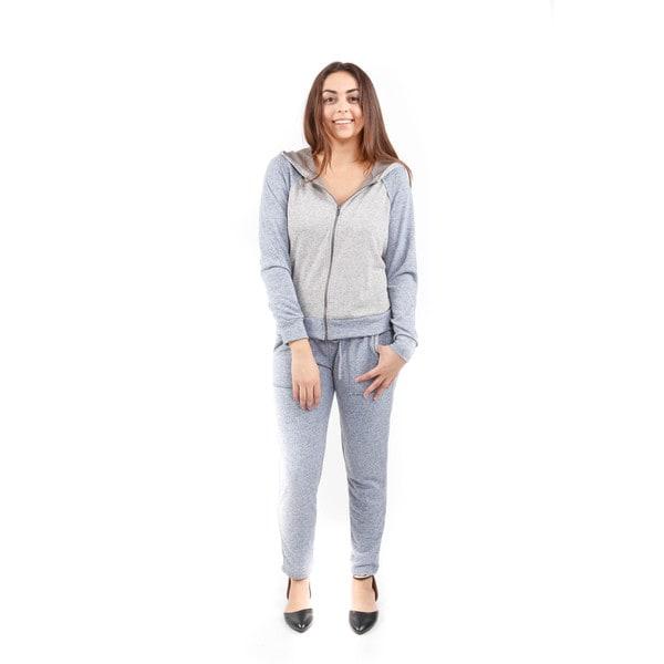 Hadari Women's Long Sleeve Raglan Zip Up Hoodie and Tie-Waist Sweatpants (2 Piece Outfit)