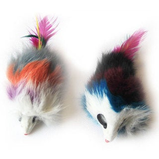 Iconic Pet - Multi-Colored Long Hair Fur Mice - 2 Pack - Assorted