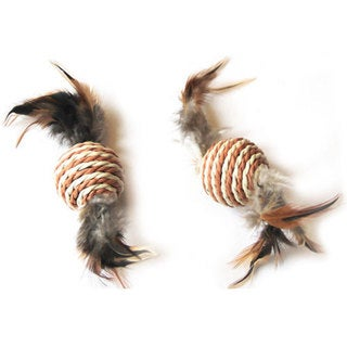 Iconic Pet - Paper Rope Ball With Feather Tail - 2 Pack - Assorted