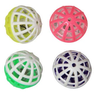Iconic Pet - Plastic Ball With Rattle - 4 Pack - Assorted