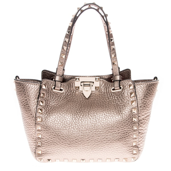 Valentino Mini Rockstud Metallic Leather Tote Handbag
