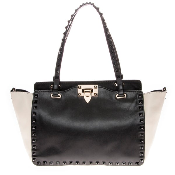 Valentino Two-tone Black/ Cream Rockstud Tote