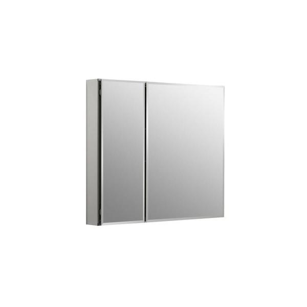 Kohler 30 inch W x 26 inch H Two-Door Recessed or Surface Mount Medicine Cabinet in Silver Aluminum