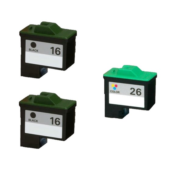 3PK 10N0016 ( #16 ) 10N0026 ( #26 ) Compatible Ink Cartridge For Lexmark X75 X1150 X1185 X1270 X2250 (Pack of 3)