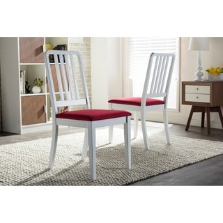 Baxton Studio Jasmine Modern White and Red Upholstered Dining Chair (Set of 2)