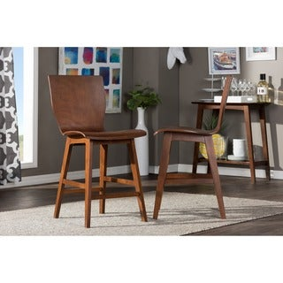 Baxton Studio Elsa Modern Scandinavian Style Dark Walnut Bentwood Counter Stool (Set of 2)