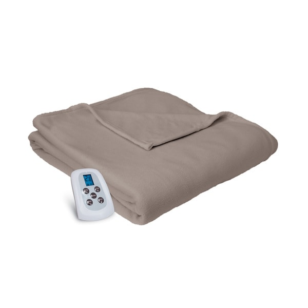 Serta MicroFleece Heated Electric Warming Blanket with Four Heat Settings and a Programmable Digital Controller