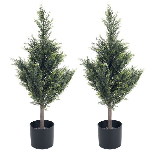 Pure Garden 34 inch Cedar Artificial Tree (Set of 2)