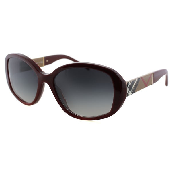 Burberry Women's Bordeaux Plastic Oval Sunglasses