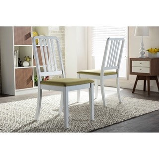 Baxton Studio Jasmine Mid-century White Wood with Green Fabric Upholstered Dining Side Chair(Set of 2)
