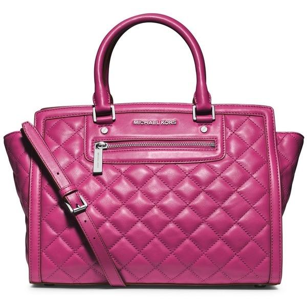MICHAEL Michael Kors Selma Large Top Zip Deep Pink Quilted Leather Satchel