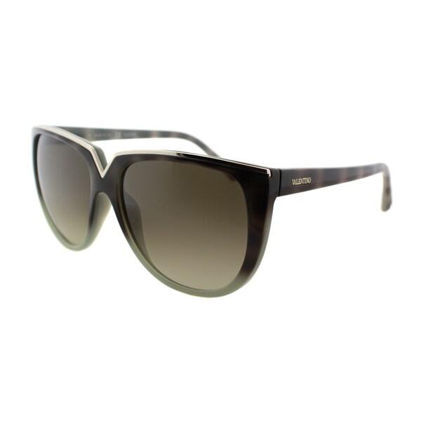 Valentino Womens V603S 232 Havana Sage Plastic Overstized Sunglasses