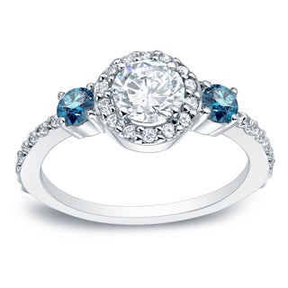 Auriya 14k Gold 3/4ct TDW Round Blue Diamond Engagement Ring (H-I, I1-I2)