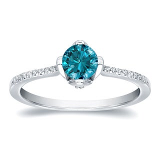 Auriya 14k Gold 4/5ct TDW Round Blue Diamond Engagement Ring (H-I, I1-I2)