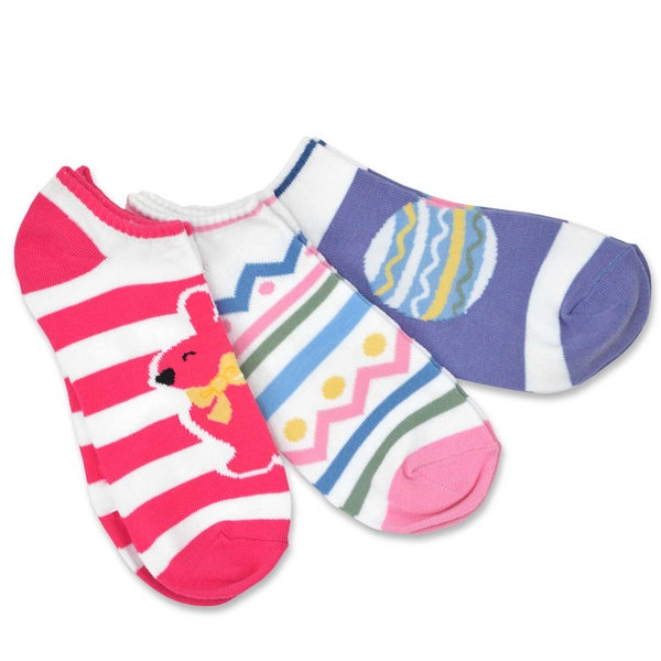 TeeHee Women's Easter No Show Cotton Socks 3-Pack