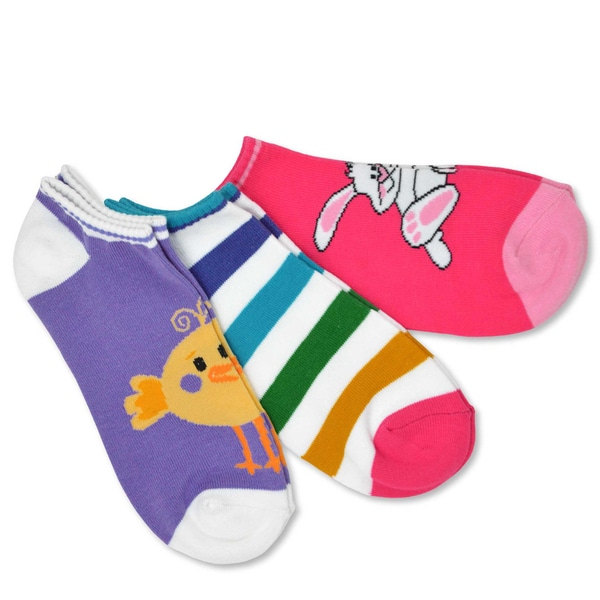 Women's Cotton Easter Bunny/ Chicks No Show Socks (Pack of 3)