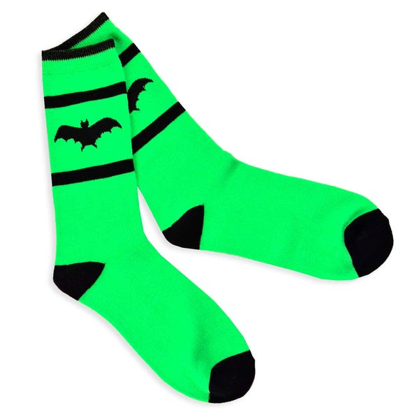 Women's Halloween Green/ Black Bat Crew Socks