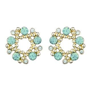 Green Rhinestone Wreath Cluster Stud Earrings
