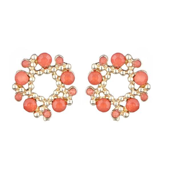 Coral Rhinestone Wreath Cluster Stud Earrings