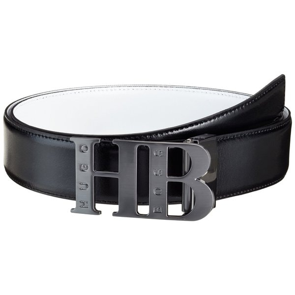 Hugo Boss Men's 'Balwinn' Black and White Leather Reversible Adjustable Belt