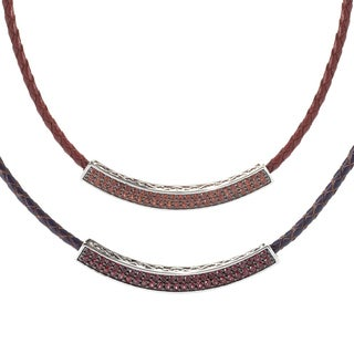 Platinum over Sterling Silver Gemstone Curved Braided Leather Necklace