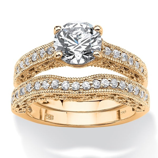 Yellow Goldplated 2 5/8Ct Round Cubic Zirconia Beaded 2-Piece Bridal Set Classic Cz 16400282