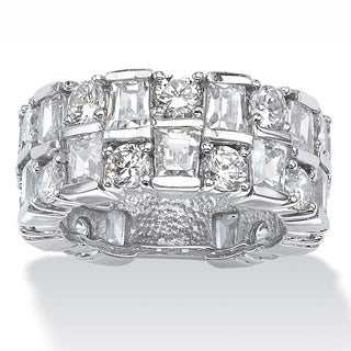 PalmBeach Platinum over Sterling Silver 7 5/8ct Round and Baguette Cubic Zirconia Eternity Channel Ring Glam CZ