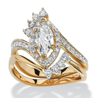 PalmBeach 14k Yellow Goldplated 1 3/4ct Marquise-cut Cubic Zirconia 2-piece Halo Bridal Set Classic CZ
