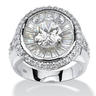 PalmBeach Platinum over Sterling Silver 5 5/8ct Oval-cut and Baguette Cubic Zirconia Double Halo Ring Glam CZ