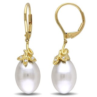 Miadora 10k Yellow Gold Cultured Freshwater White Pearl and Diamond Accent Dangle Earrings (9-10 mm)