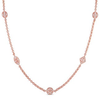 Versace 19.69 Abbigliamento Sportivo SRL 18k Rose Gold Plated Sterling Silver White Sapphire Station Necklace
