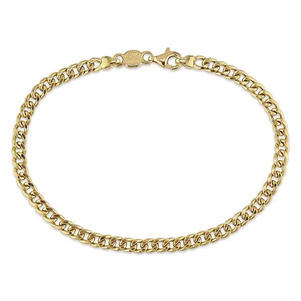 Miadora Signature Collection 18k Yellow Gold Flat Curb Link Bracelet