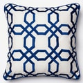 Embroidered Geometric Lattice Down Feather or Polyester Filled 18-inch Throw Pillow or Pillow Cover