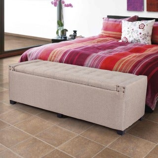 Adeco Fabic Rectangular Tufted Lift Top Storage Bench Ottoman
