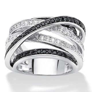 PalmBeach Silvertone 1 3/4ct Round Black and White Cubic Zirconia Crossover Ring Bold Fashion